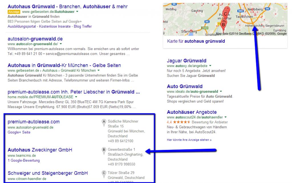 Autohaus Google Business Eintrag